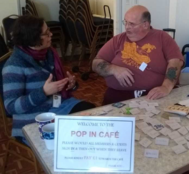 Colin helps out at the Pop In Cafe